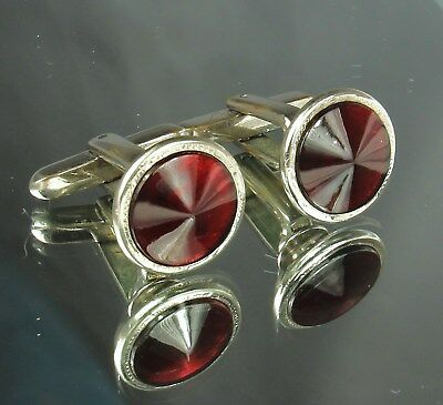 1950s HICKOK Signed Cufflinks Faceted RED GLASS RIVOLI Stones Toggle Bar NICE!