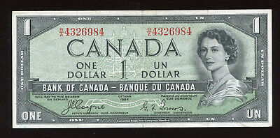 1954 Devil's Face $1 Bank of Canada Banknote - Cat#29a - S/N: B/A4326984