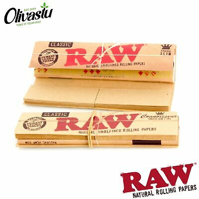 Genuine RAW Connoisseur King Size Slim Rolling Papers + Tips Filters Rizla Packs
