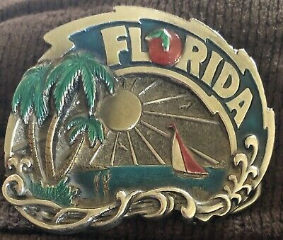 Vintage Florida 1980 Chicago American U.S.A.  Heavy Belt Buckle