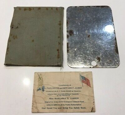 WWII WWI US USGI Army Military Soldiers Field Shaving Signal Mirror Case & Card