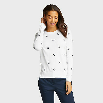 Nautica Womens Classic Fit Cotton & Modal Sweater In Palm Pattern