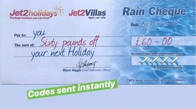 50 X Latest Jet2Holidays £60 Rain Cheque voucher Valid until March 2020**EXP AUG