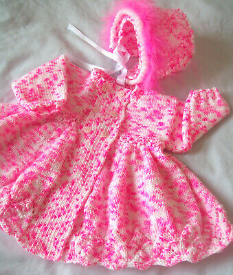 Baby Girls Clothes 6 - 12 mth MATINEE COAT CARDIGAN bonnet HAND KNITTED pink