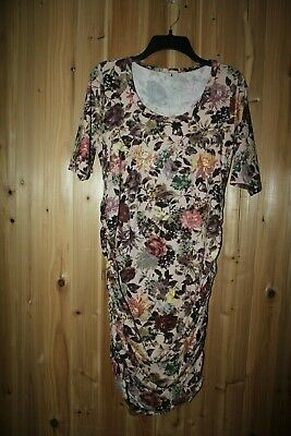 a842ec0b609f7 EUC Mother Bee maternity XL Dress Floral Ruched belly Scoop Stretch USA made