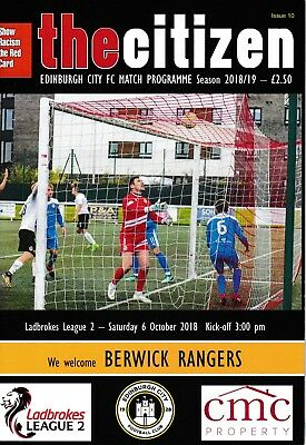 Edinburgh City v Berwick Rangers 2018/19 brand new football programme