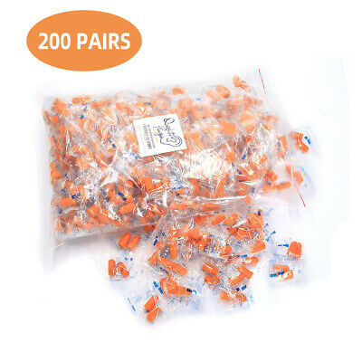 200 Pair Individually Wrapped Soft Foam Ear Plugs NRR 32DB Hearing Protection