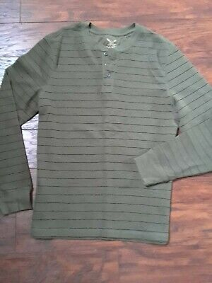 5c4c422e FADED GLORY Men's Long Sleeve 3 Button Thermal Henley Shirt Size Large