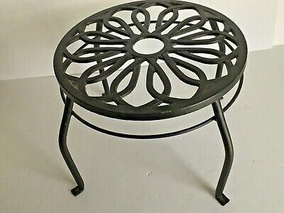 "Black Cast Iron 12"" D Decorative Scrolled Top 9"" Tall Foot Stool Plant Stand"