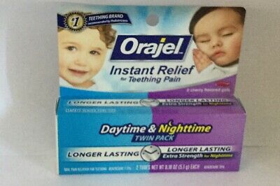 Baby Orajel Instant Relief For Teething Pain Daytime & Nighttime  Gels Exp 11/19