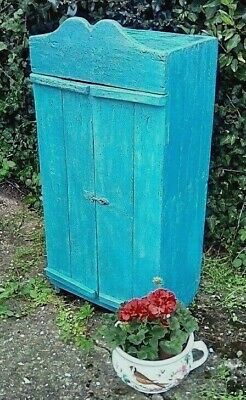 Very Unusual Charmimg Antique Rustic Painted Pine French Cupboard