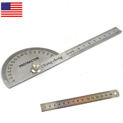 SAE Stainless Steel Rotary Protractor Angle Rule Gauge Machinist Tool US