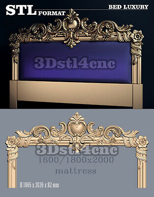 3D STL Model Luxury Bed 1215 for CNC Router Carving Machine Artcam aspire Cut3D