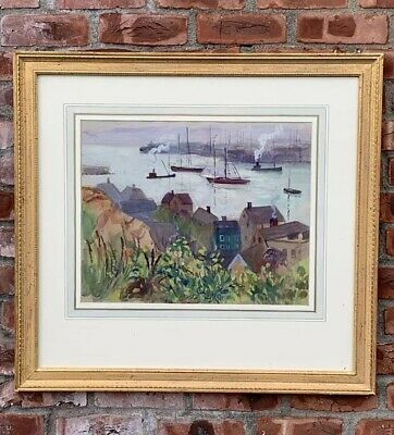 1913 American Impressionist Watercolor Gloucester Harbor By Richard Hayley Lever