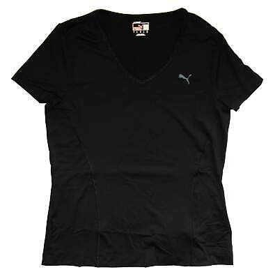 Puma Womens Black Lycra CleverDRY Essential Short Sleeve Gym Exercise Tee UK14