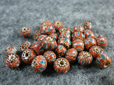 (10) Old Sky Blue & Brick Red White Chevron Huron Indian Venetian Trade Beads