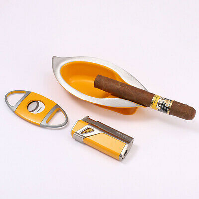 COHIBA Yellow Cigar Lighter Triple Torch Jet Flame W/Punch Ashtray Cutter Set
