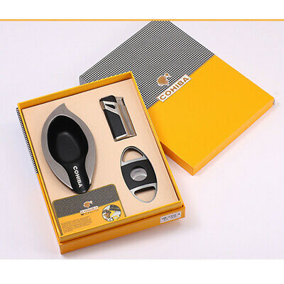 COHIBA Black Cigar Lighter Triple Torch Jet Flame W/Punch Ashtray Cutter Set