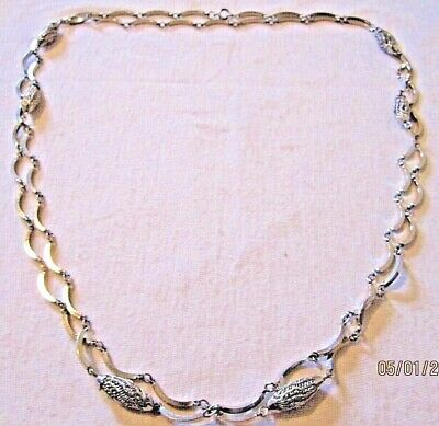 """VTG Art Deco Silver Plated Filigree Ornate Extra Long Luxury Estate Necklace 54"""""""