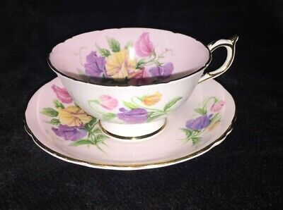 Rare Paragon Pink Tea Cup and Saucer with Sweet Pea Flowers, Great