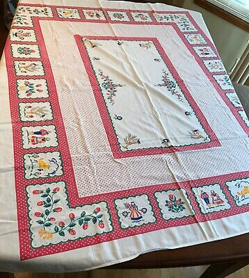 "Vintage Pink & White Polka Dot Tablecloth~Dutch Boy~Girl~Flowers~Birds~62"" X 54"""