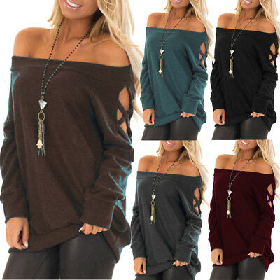Women One Shoulder Sexy Blouse Tops T-shirts Ladies Pullover Loose Fit Jumper