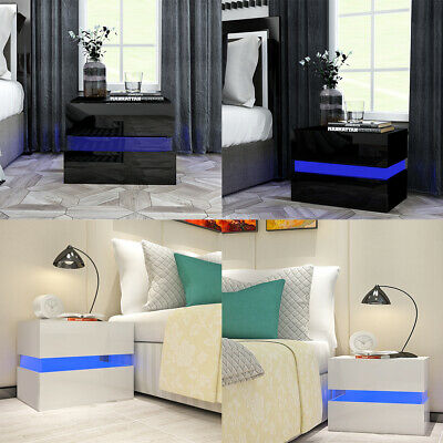 Modern High Gloss Acrylic Led Bedside Table with LED 2 Drawers Bedroom Furniture