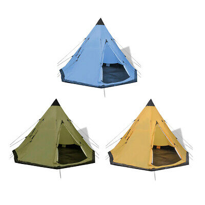 Outdoor Camping 4-person Tent with Pegs and Guy Ropes Water-resistant PE Floor