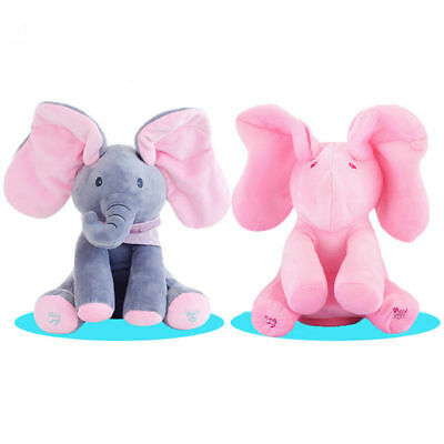 Peek-a-boo Elephant Baby Plush Toy Singing Stuffed Kids Music Toy Doll Xmas Gift