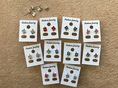 JOBLOT-10 pairs of colour square diamante stud earrings.Silver plated.UK made.