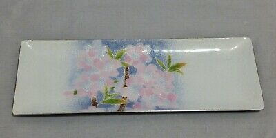 Enamel on Copper Rectangle Floral Pattern Tray