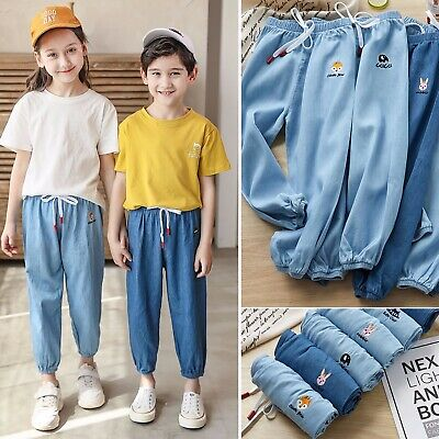 Unisex Baby Toddler Girl Chambray Full Length Pull-On Joggers Pants 2-10Years
