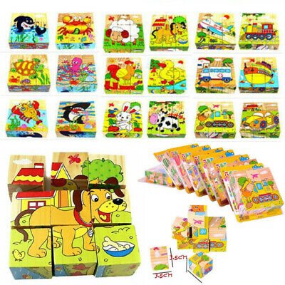 3D Wooden Animal Puzzle Blocks Kids Baby Early Learning Educational Toys Gifts