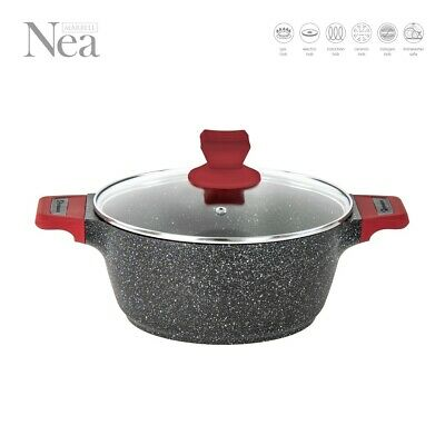 Non Stick Marble Coated Stockpot Casserole Cooking Pot Pan INDUCTION Cookware NI