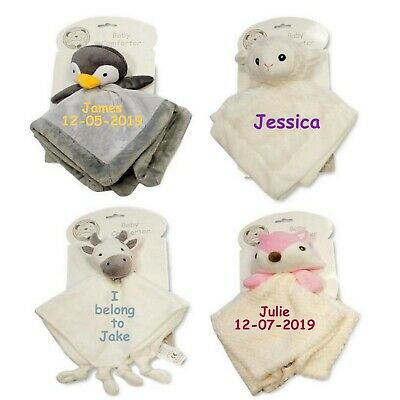Personalised Embroidered Baby Comforter Security Blanket sheep Penguin Newborn