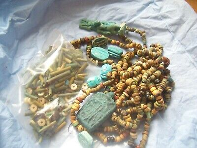 Ancient Egyptian Necklaces Amulets And Scarabs Carving From A House Clearance