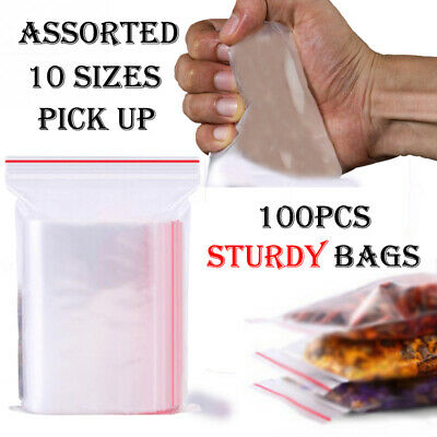 100 x Reusable Zip Lock Bags Heavy Duty Clear Plastic Poly Grip Seal Freezer Bag