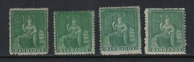 Barbados 1861-70 (1/2d) Rough Perf shades x 4 - mounted mint £100+