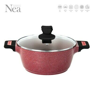 24CM Non Stick Marble Coated Stockpot Casserole Pot Pan INDUCTION Cookware NI RD