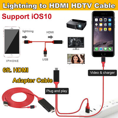 8-Pin to HDMI Digital TV AV Adapter Cable 6ft For iPhone XS MAX 8 7 iPad Mini