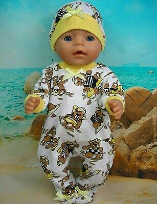 """Dolls clothes for 17"""" Baby Born doll~ TEDDY BEARS AT THE BEACH JUMPSUIT & HAT"""