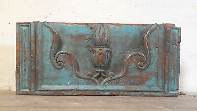 Antique French Pediment Carved Wood Panel Architectural Salvage Fronton Ornament
