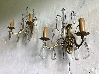 Elegant Vintage French Pair Gilt Rococo Crystal Wall Lights Sconces. C1950s