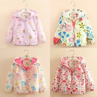 Toddler Baby Girl Printed Windbreaker Jacket Zipper Hooded Coat Outwear 2-8Years