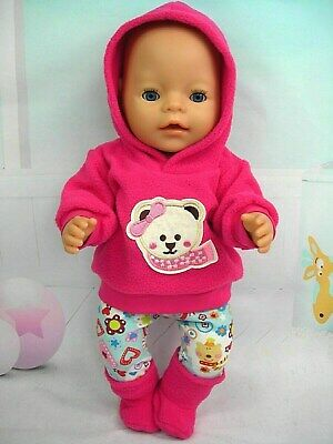 "Dolls clothes for 17"" Baby Born doll~TEDDY BEAR/SCARF PINK HOODIE/LEGGINGS/BOOTS"