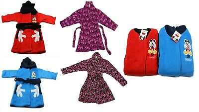 Kids Girls Boys Soft Disney Mickey Mouse Bathrobe Luxury Dressing Gown 3-8 Yr UK