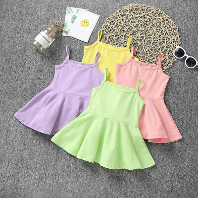 Summer Toddler Baby Girls Kids Sleeveless Solid Print Dress Vest Dresses Clothes