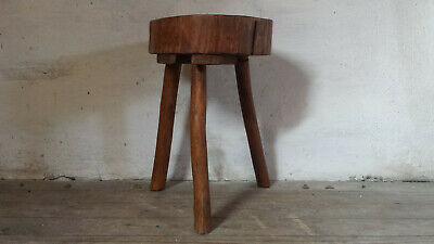 French Tree Stump Stool Tree Trunk Stool Butcher Block Primitive Wooden Stool