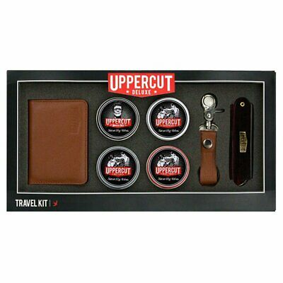 Uppercut Deluxe Travel Kit  contains 4 mini Tins , KeyChain and Comb , Wallet .