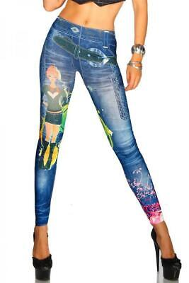 VARIOUS Jeans-Print-Leggings